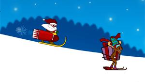Скриншот flash-игры Santa Rocket Sledge